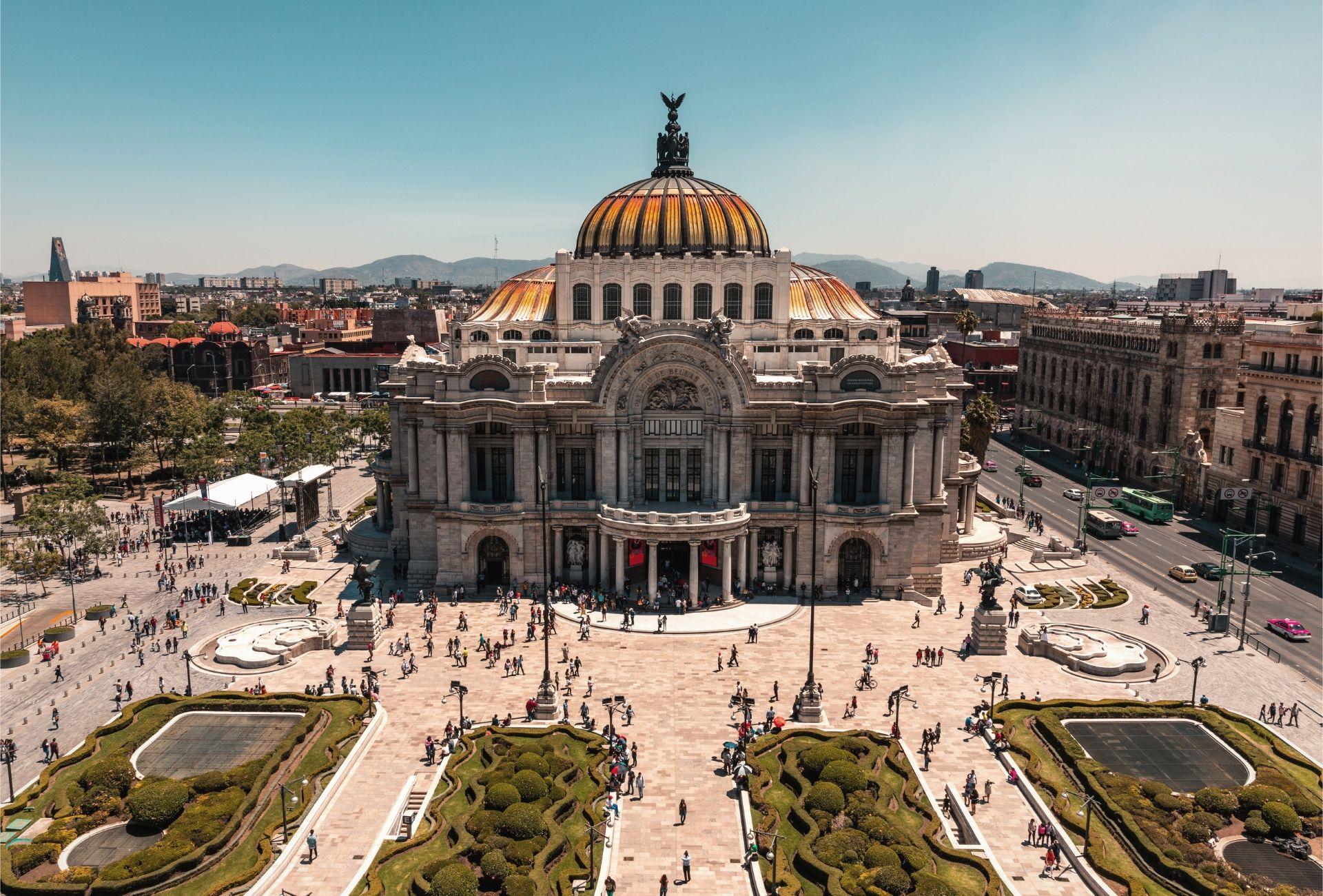Vista aérea do Palácio de Belas Artes em Cidade do México